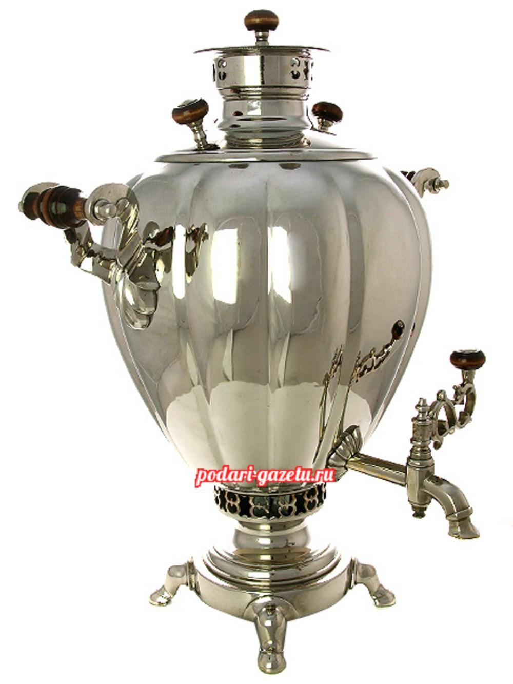 Угольный самовар (жаровой, дровяной) (7 литров) яйцо никелированный