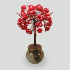Дерево здоровья и долголетия из коралла в вазочке из оникса