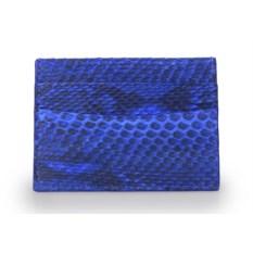 Синий держатель для карт из кожи питона