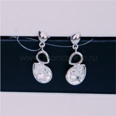 Серьги с белыми кристаллами Сваровски «Весенняя капель»