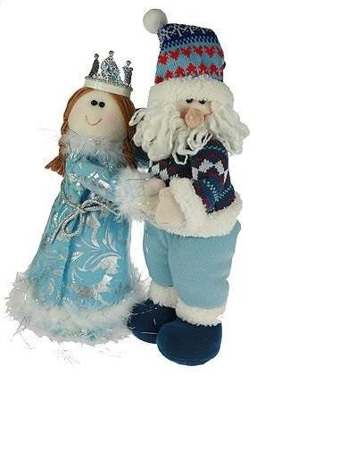 Новогодний сувенир Дед Мороз и Снегурочка в синих нарядах