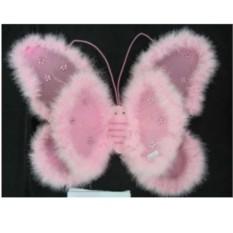 Карнавальные двойные крылья бабочки с пушком и стразами