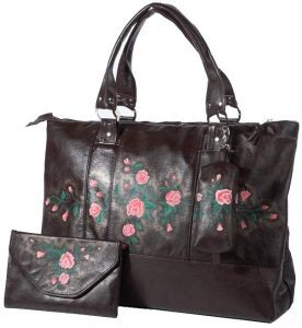 Кожаная сумка «Веточки розы»