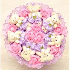Букет Романтика цвета фиолетовый микс из плюшевых мишек