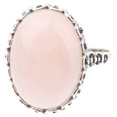 Кольцо из мельхиора в посеребрении с розовым кварцем Монро