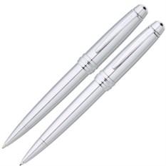Серебристй набор Cross Bailey: ручка и карандаш 0.7мм