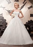 Свадебное платье из атласа и фатина с пышной юбкой, белое