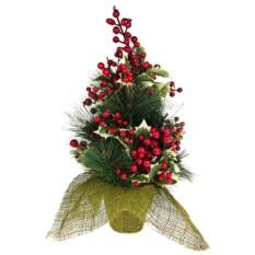 Декоративная ель Елка с ягодами в ведерке