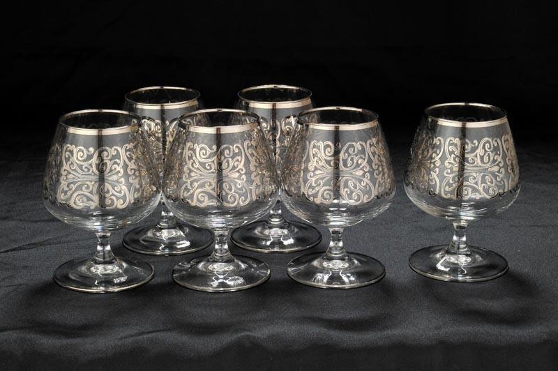 Набор хрустальных бокалов для бренди Ажур