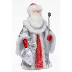 Игрушка Дед Мороз в серебристо-красном наряде