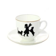 Фарфоровая кофейная чашка с блюдцем Именинница