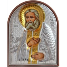 Маленькая серебряная икона Серафим Саровский