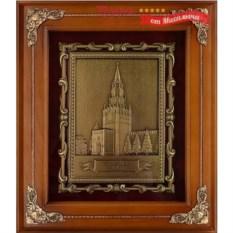 Панно из металла в деревянной раме Спасская башня