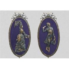 Пара картин из бронзы Дама и кавалер