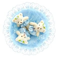 Букет с медвежатами Зефирки голубого цвета