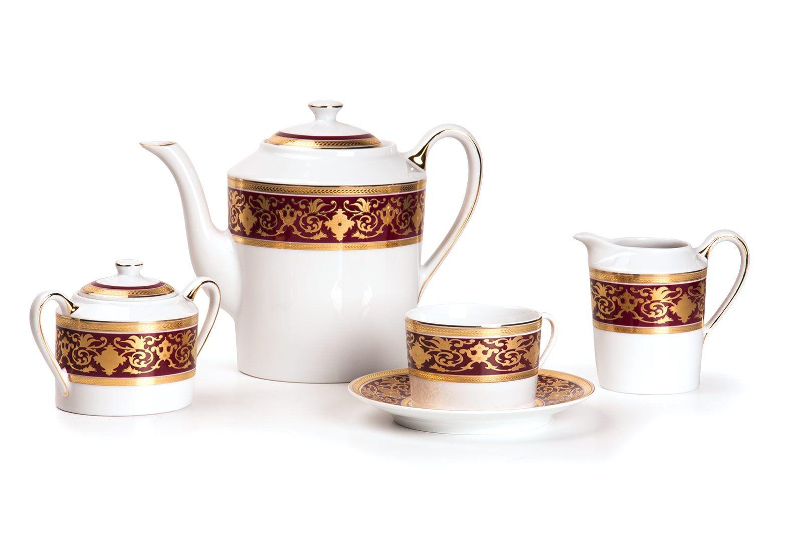 Фарфоровый чайный сервиз на 6 персон RAMSES BORDEAUX MIMOSA