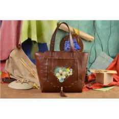 Коричневая сумка-шопер Цветочный орнамент Elole Design