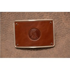 Пряжка для ремня с кожаной вставкой. Коллекция G.Design (коричневый, римский воин; нат. кожа)
