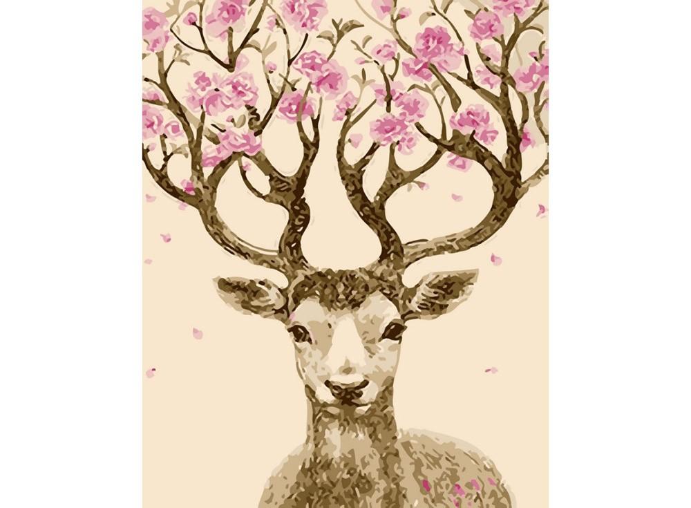Картины по номерам «Олень с цветущими рогами»