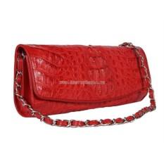 Красный женский клатч из кожи крокодила на цепочке
