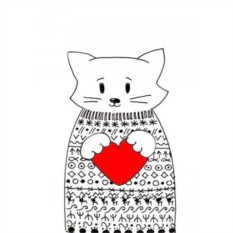 Открытка с конвертом Кот в свитере. Сердце