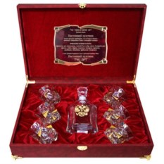 Набор со штофом и бокалами для виски с позолотой Герб