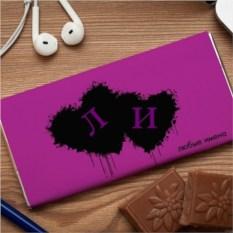 Шоколадная открытка Чернильные сердца