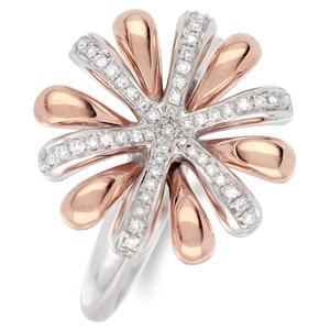 Кольцо из желтого и белого золота с бриллиантом