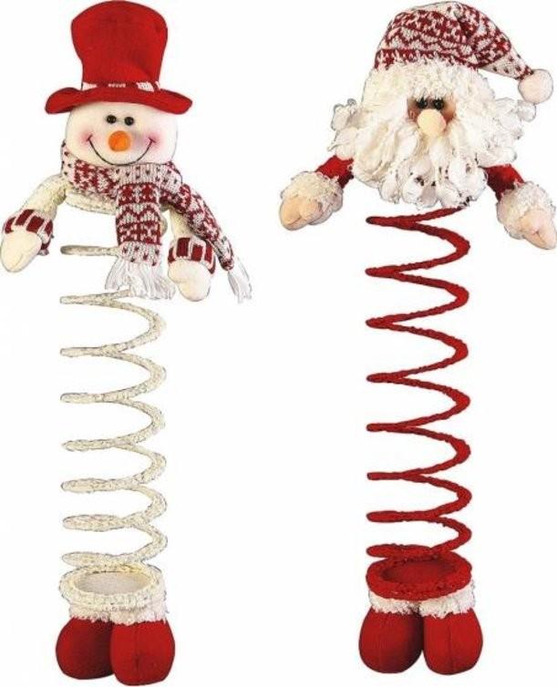 Мягкие игрушки на пружинке Дед Мороз и Снеговик
