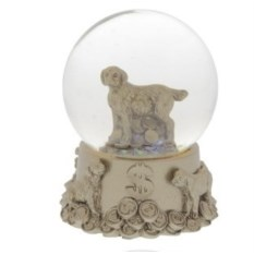 Фигурка в стеклянном шаре Собачка с монетами
