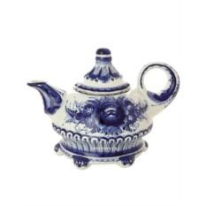 Заварочный керамический чайник с росписью Гжель Шатер