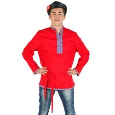 Льняная красная косоворотка