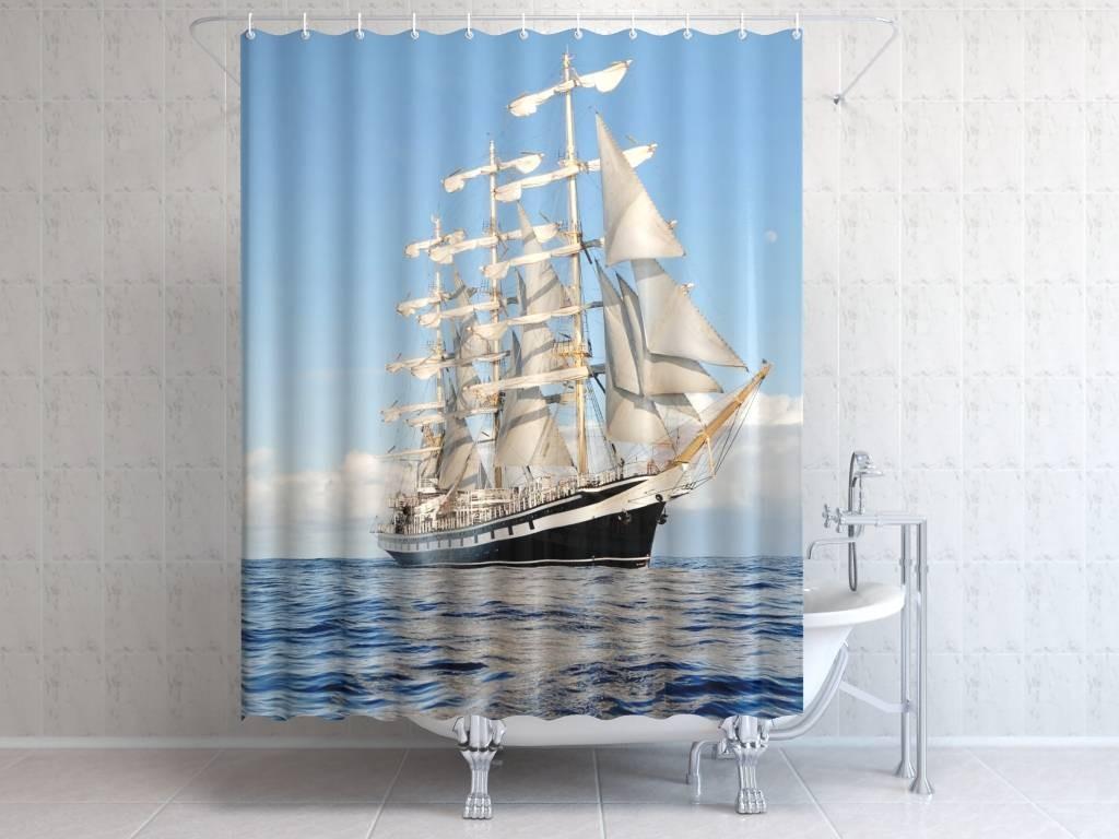Фотоштора для ванной Белые паруса