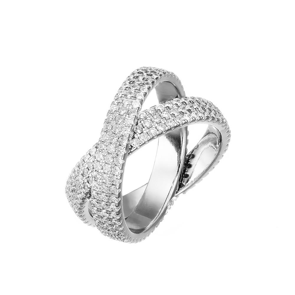 Двойное кольцо с дорожками из фианитов