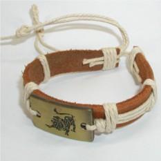 Кожаный браслет Лев