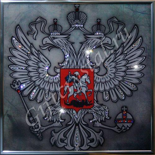Картина из кристаллов Swarovski Герб (серебро)