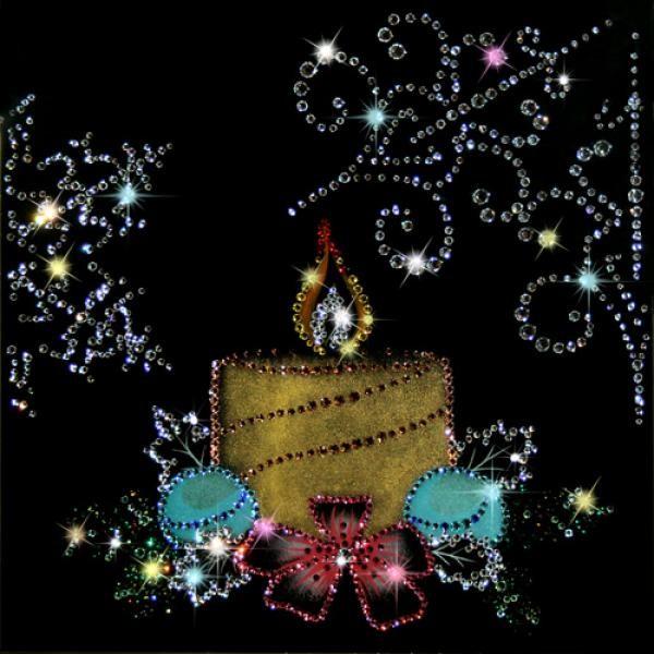 Картина из кристаллов Swarovski Новогодняя свеча