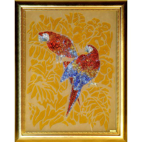 Картина из кристаллов «Попугаи»
