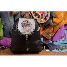 Женский черный кожаный рюкзак Совёнок