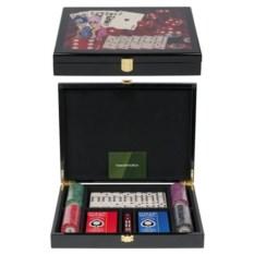 Набор для игры в домино и покер на 100 фишек Lux