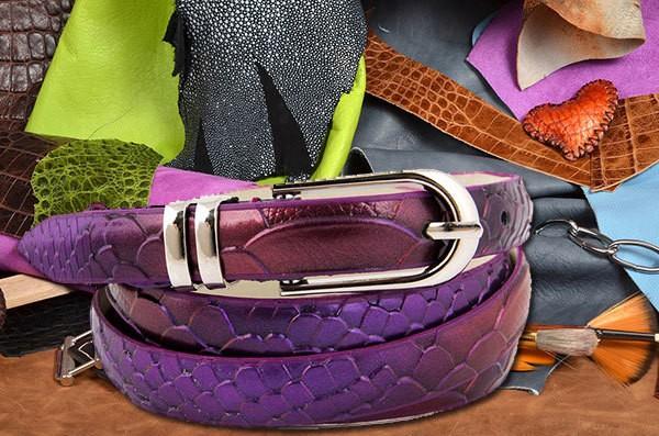 Фиолетовый ремень коллеции G.Ferretti из кожи (тип 3)