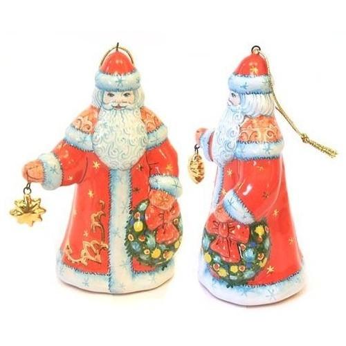 Елочная игрушка «Дед Мороз с венком»