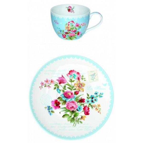 Чашка с блюдцем Цветы, голубые