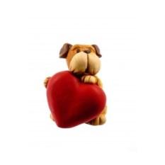 Декоративная фигурка Собака с красным сердцем