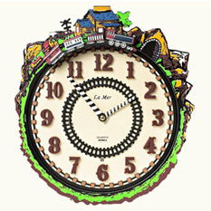 Часы настенные  «Железная дорога» (музыкальные)
