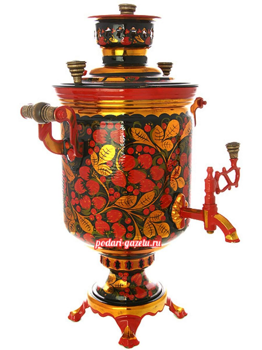 Угольный самовар (жаровый, дровяной) на 5 литров, цилиндр с художественной росписью Хохлома рыжая