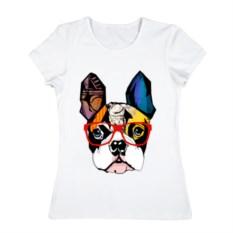 Женская футболка из хлопка Лоскутный мопс