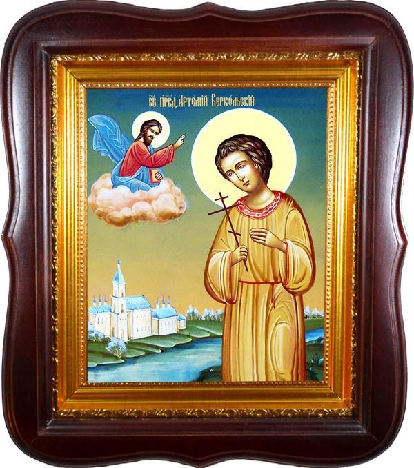 Артемий Веркольский православный отрок. Икона на холсте.