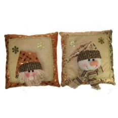 Новогодний сувенир Подушка с Дедом Морозом и Снеговиком