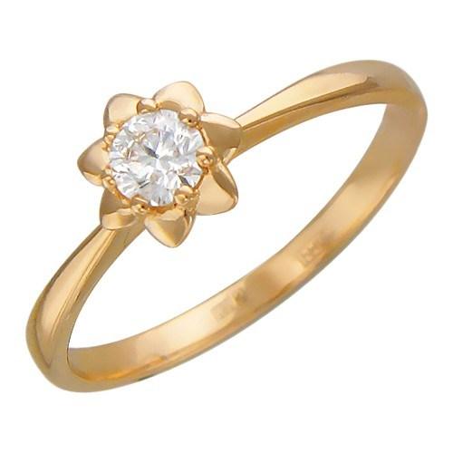 Помолвочное кольцо  с 1 бриллиантом весом 0.25 карат